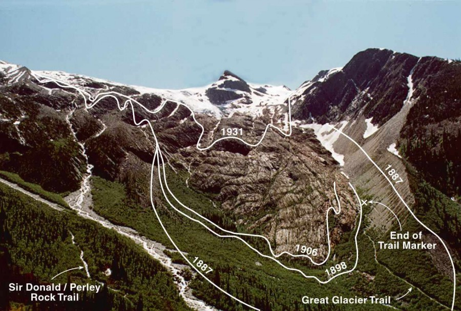 Lines mark the extent of ice, Illecillewaet Glacier, Glacier National Park. Photo Credit: Dr. Dan McCarthy, Brock University